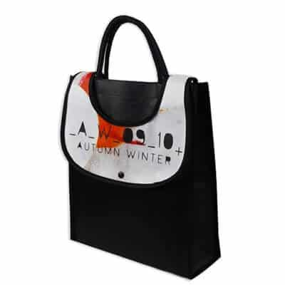 Custom non woven bag with a full colour printing logo. The material is 80gsm non-woven PP with lamination.