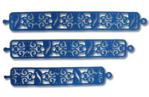 Blue personalised Silicone Wristbands with Stensil Band design displayed in 3 different sizes.