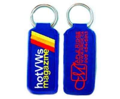 Two sided custom embroidered key tags with 5 colour logo on the front.