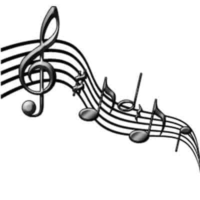 Music note symbol in black and white.