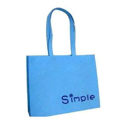 Blue printed non woven bag with a 1 colour logo.