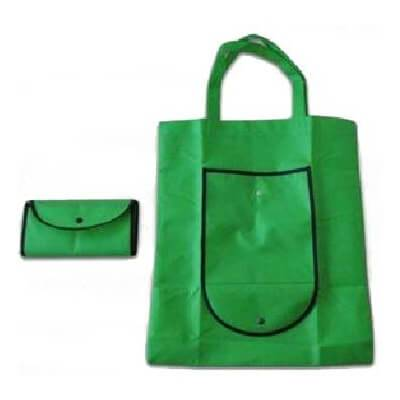 Green custom non woven bag which folds into a compact pouch.