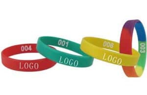 Examples of different coloured personalised silicone wristbands where you can print your own logo.