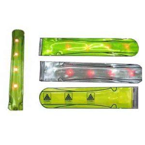 Custom slapband with light emitting diodes (LEDs).