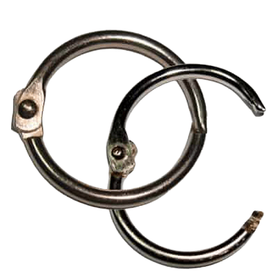 This image is of two 25 mm diameter snap split rings linked in together. They are made from iron metal and have a shiny nickel plating which forms a shiny silver finish.