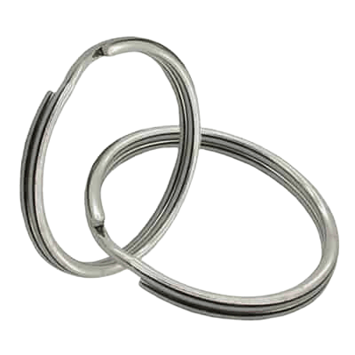 This image is of two 25 mm diameter split rings linked in together. They are made from iron metal and have a shiny nickel plating which forms a shiny silver finish.