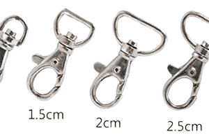 Metal lanyard swivel hooks in various sizes.