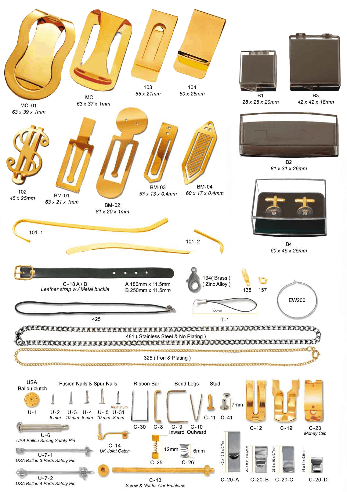 Metal accesories in various models, styles and plating. These include metal money clips, necklaces, clips and spurs.