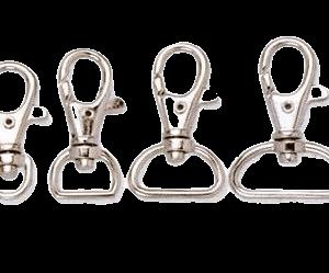 Lanyard metal swivel hooks in various sizes.