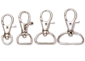 Lanyard metal swivel hooks in various sizes.