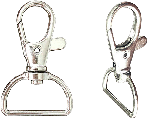 Close up view of a metal swivel hook used in lanyard designs.