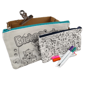 Personalised pencil case with writable fabric. This design in available in various sizes.