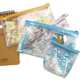 Custom pencil case with see through plastic material pictured in various sizes.