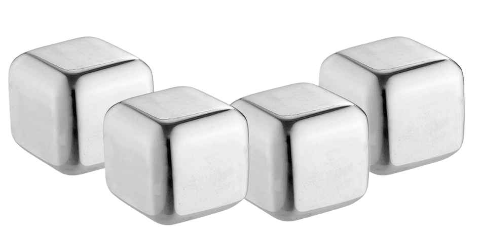 Examples of cube shaped personalised ice cubes in stainless steel material.