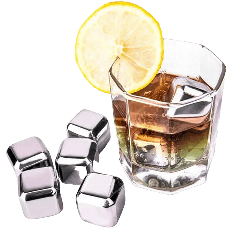 Examples of cube shaped stainless steel ice cubes which can be personalised. The picture shows some free standing not in fluid and another one inside a drink with a lemo attached to the glass.