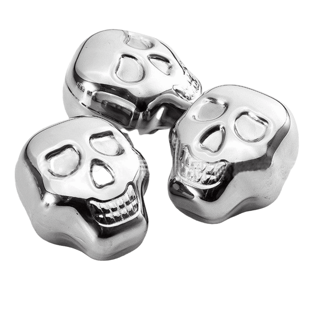 Skull shaped stainless steel ice cubes.