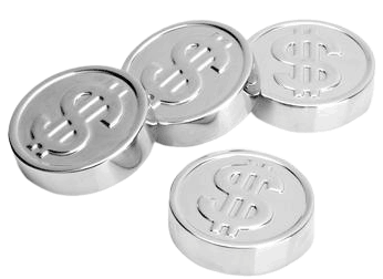 Stainless steel ice coins with a picture of a dollar sign on them.