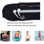 Heaphone cord slot view of jogging waist bag with single water bottle holder.