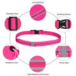 Feature view of a sports running belt fluro pink waist bag.