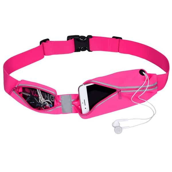 Front view of a sports running belt fluro pink waist bag.