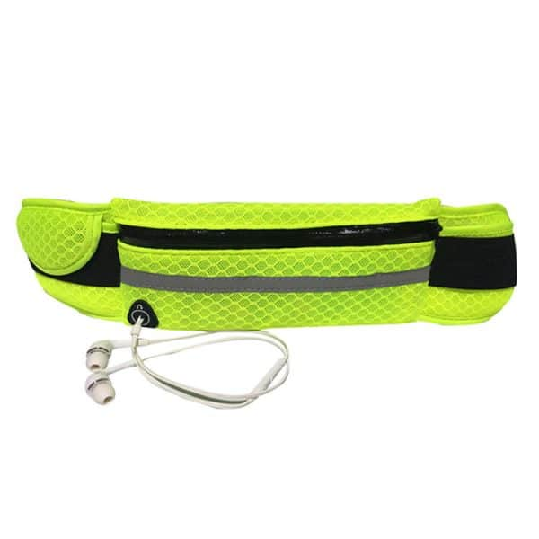 Front view of a fluro yellow sports small waist bag.