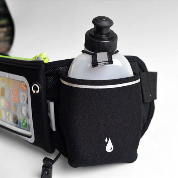 Close up view of a dual water bottle holding neoprene waist bag.