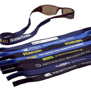 This picture has various examples of neoprene custom sunglasses straps with a printed logo in various colours.