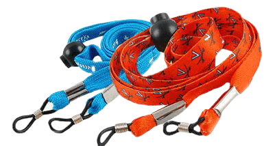 Numerous blue and red sunglasses strap designs in polyester material. This is a similar material to what is used in a lanyard design. Typically the material can be flat or corded like a shoelace.