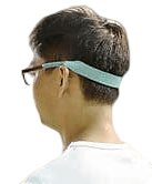 A person wearing sunglass straps which is coloured in light blue material.