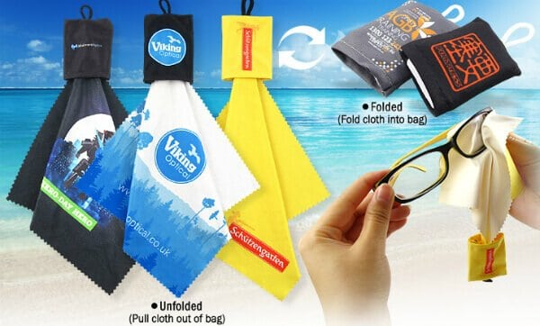 This picture covers example designs of promotional microfibre cloths. You can see how they look when folded into a pouch and when cleaning sunglasses.