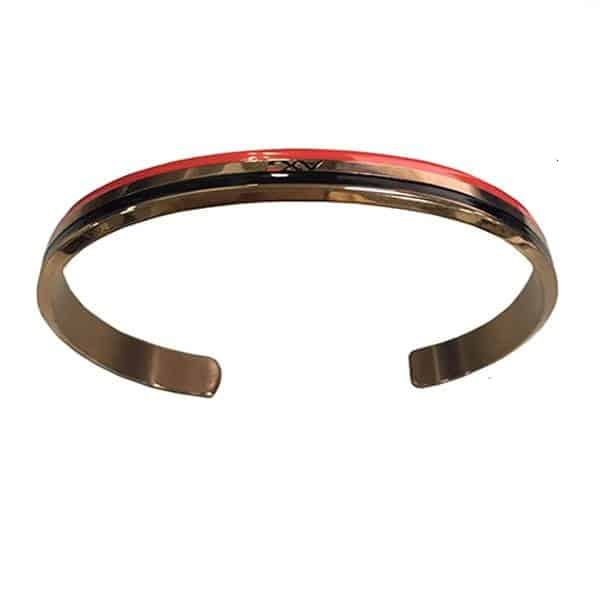 Custom metal bracelet with a logo. It also has a red and black line finish.