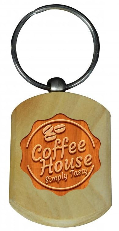 Enriched meaningful branding of a wooden keyring for a Coffee business.