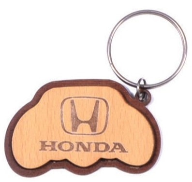 Custom wooden keyring with Honda car logo laser engraved into the wood.