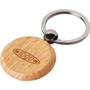 Circular custom wooden keyring.