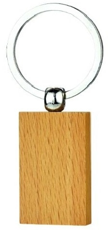 Rectangular wooden keyring example.