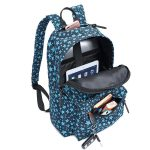 Front compartment view of printed lightweight durable day bag. Light blue stars and printed on the bag.