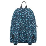 Rear view of printed lightweight durable day bag. Light blue stars and printed on the bag.