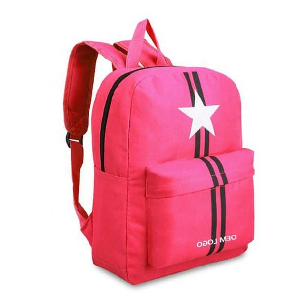 Pick casual polyester backpack showing the front view. This design has black stripes and a white star printed.