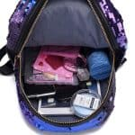 Open top view of a lightweight girls glitter sequin backpack for girls.