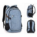 Light blue large school laptop backpack showing all views