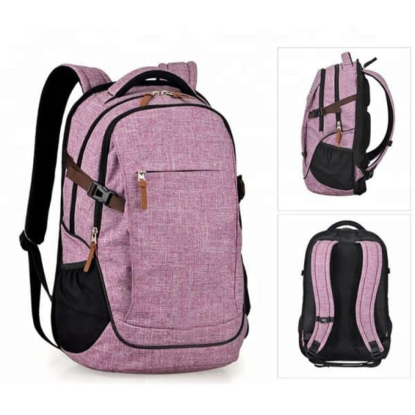 Purple large school laptop backpack showing all views