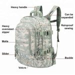Front feature view of a large tactical military style tacticle outdoor backpack.