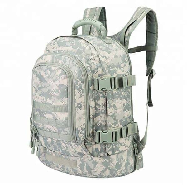 Front side view of a large tactical military style tacticle outdoor backpack.