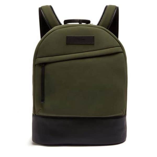 Front view of a neoprene mens laptop backpack. Very lightweight and comfortable.