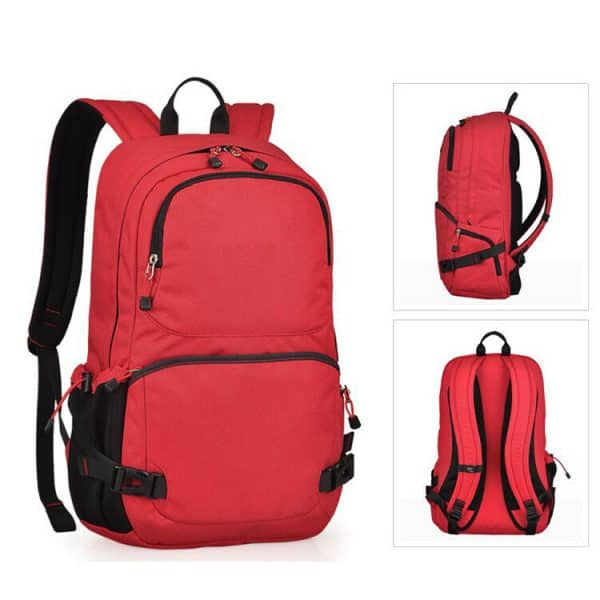 Red outdoor camping backpack.
