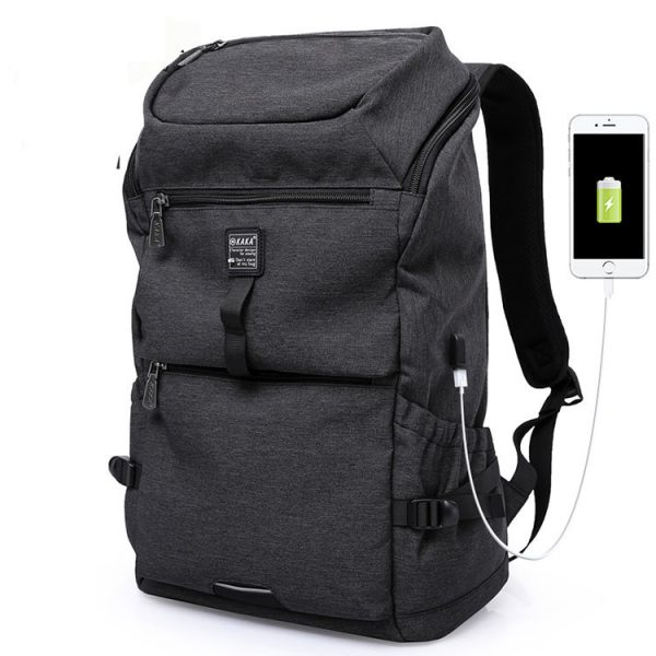 Front view of an outdoor smart travel backpack.