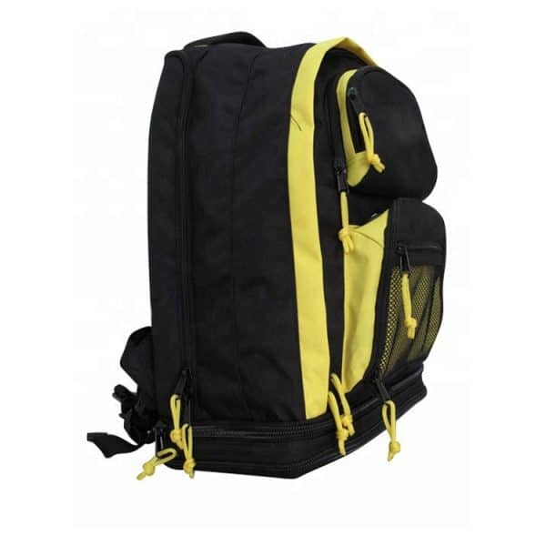 Side view with the straps down of professional backpack.