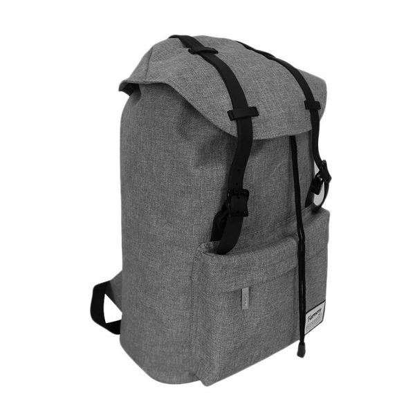 The front view of a grey coloured Polyester Laptop School Bag.