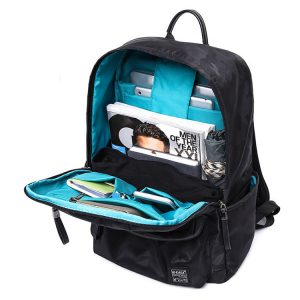 Front open compartment view of a smart travelling laptop backpack.