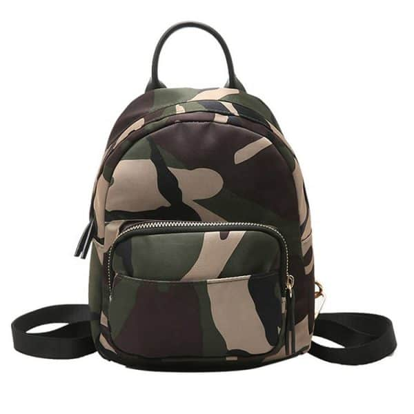 Front view of a waterproof camouflage backpack.